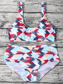 High Waisted Geometric Print Bikini