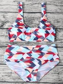 High Waisted Geometric Print Bikini - M