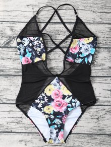 Floral Low Cut Mesh Swimwear