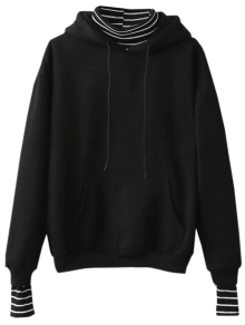 Oversized Layered Look Pullover Hoodie - BLACK ONE SIZE