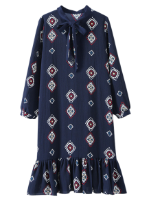 Geometric Bow Tie Long Sleeve Dress - CADETBLUE ONE SIZE