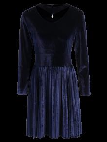 Buy Velvet Long Sleeve Choker Pleated Dress - PURPLISH BLUE M