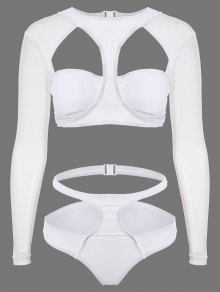 Long Sleeve Cutout High Rise Bathing Suit - White