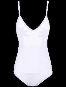 Palm Tree See Through Sheer Swimwear - White M