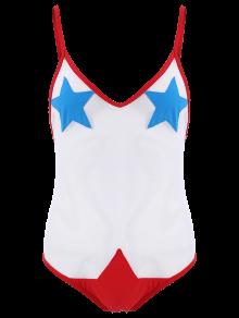 Sheer Mesh Stars Transparent Sheer Swimwear - Red