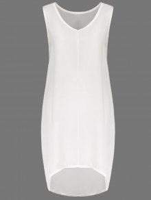 White V Neck Sleeveless Dress - White L