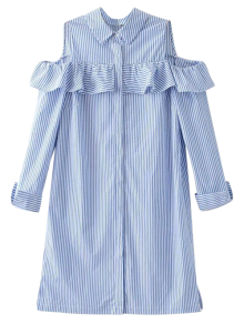 Cold Shoulder Ruffle Striped Shirt