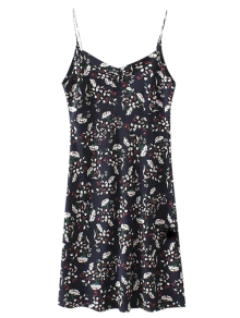 Mini Low Back Floral Slip Dress - Cadetblue S