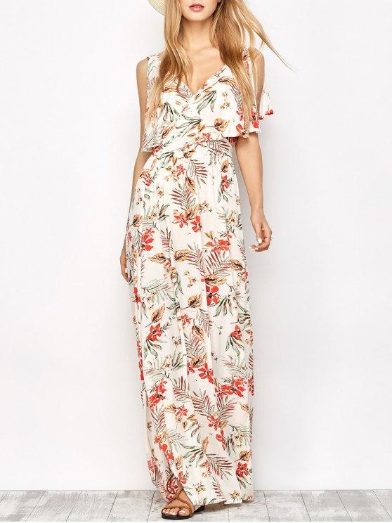 shops Side Slit Maxi Floral Dress - FLORAL S