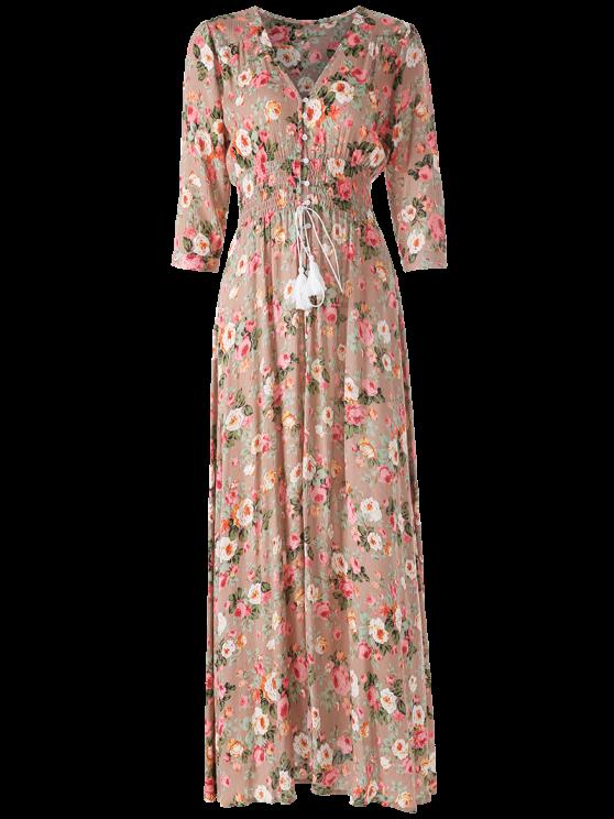Front Button Maxi Floral V Neck Dress - FLORAL L Mobile