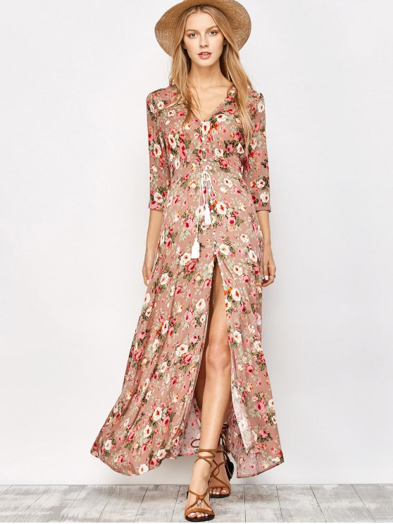 Front Button Maxi Floral Dress - FLORAL M Mobile