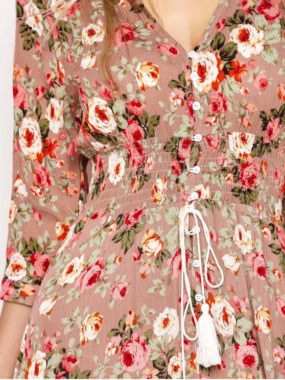 Front Button Maxi Floral V Neck Dress - FLORAL S Mobile
