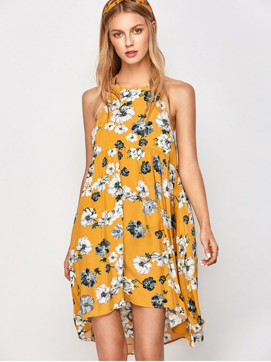 Mini Smock Sleeveless Floral Swing Dress - GOLDEN L Mobile