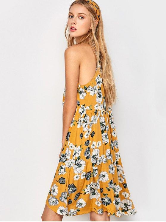 Mini Smock Sleeveless Floral Swing Dress - GOLDEN M Mobile