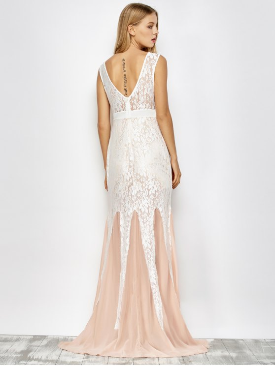 Chiffon Lace Maxi Mermaid Prom Dress - PINK AND WHITE L Mobile
