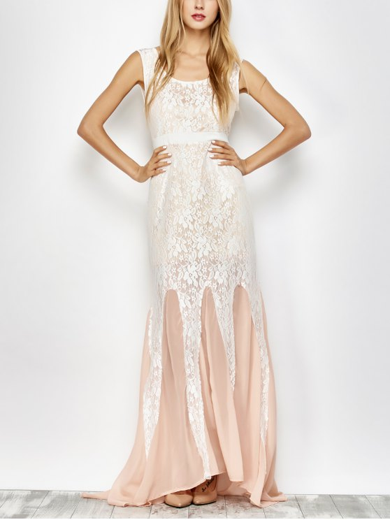 Chiffon Lace Maxi Mermaid Prom Dress - PINK AND WHITE M Mobile