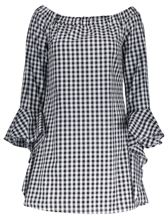 Bell Sleeve Off The Shoulder Checked Dress - PLAID XL Mobile