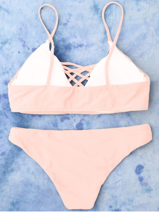 Lace Up Bikini Top and Bottoms - PINK L Mobile
