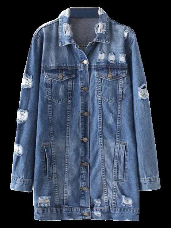 women Bleach Wash Distressed Denim Coat - DENIM BLUE M