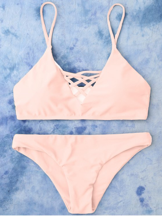 Lace Up Bikini Swimwear - PINK L Mobile
