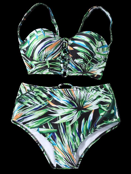 Lace Up Printed High Waist Bikini Set - GREEN M Mobile