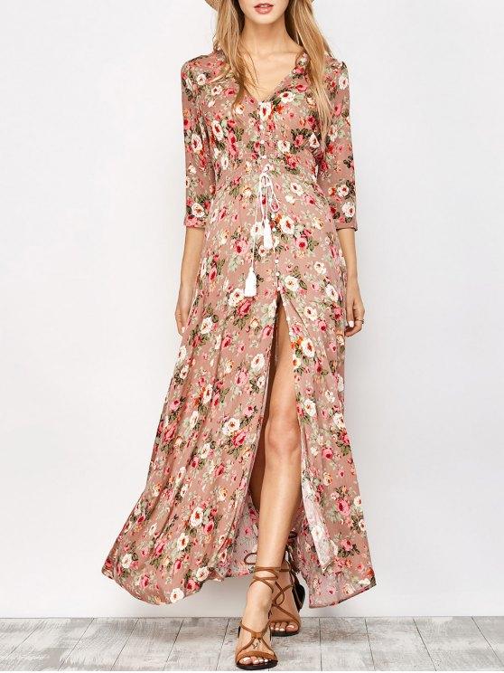 Frente botón vestido floral maxi - Floral S