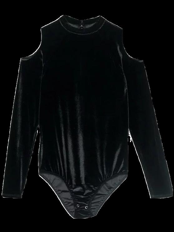 Snap Gusset Cutout Shoulder Velvet Bodysuit - BLACK S Mobile