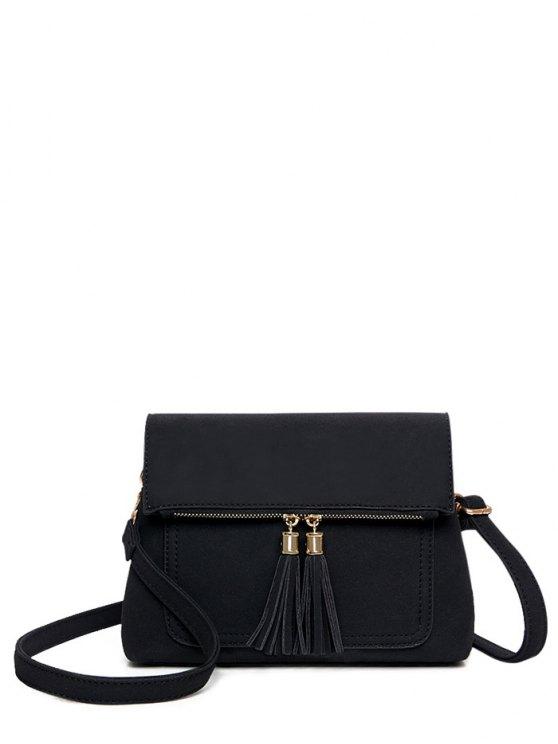 affordable Suede Tassel Crossbody Bag - BLACK