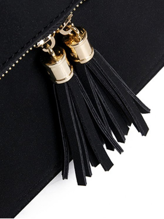 Suede Tassel Crossbody Bag - GRAY  Mobile