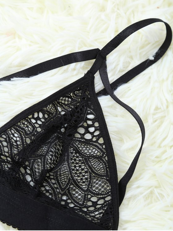 Strappy Hollow Out Lace Bra - BLACK M Mobile