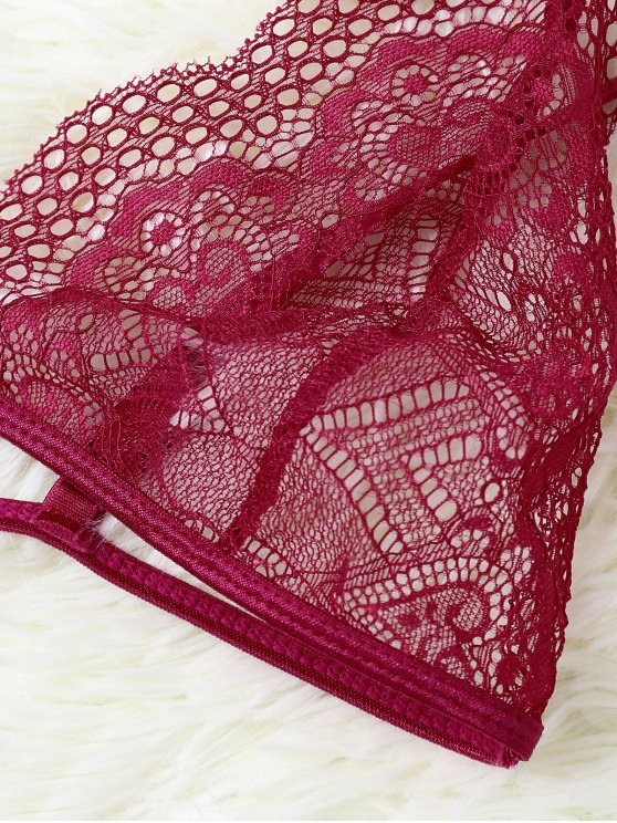 Cut Out Sheer Lace Bra - RED S Mobile
