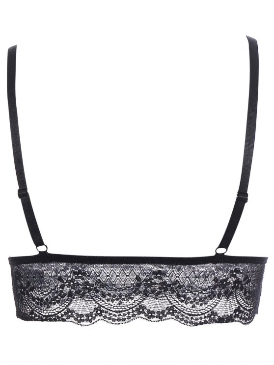 Lace Full Coverage Longline Bra - BLACK M Mobile