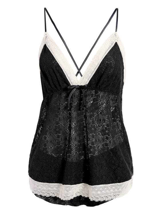 Bowknot Spaghetti Strap Lace Sleepwear Suit - BLACK L Mobile