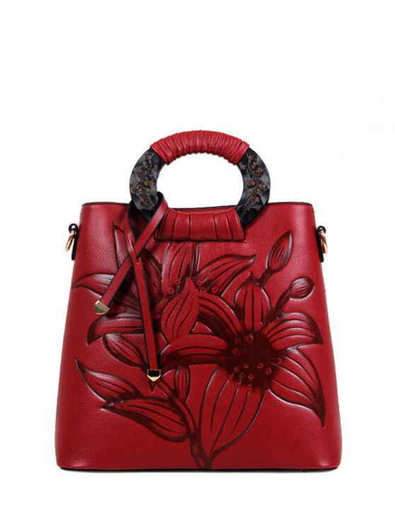 Flower Embossed Faux Leather Handbag - WINE RED  Mobile