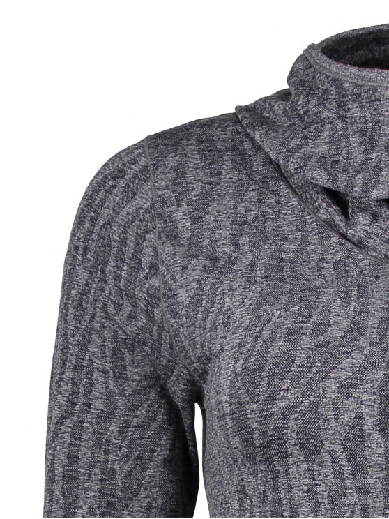 Dry-Quick Heathered Drawstring Hoodie - GRAY L Mobile