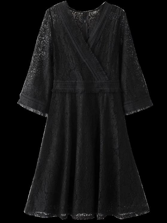 Vestido de encaje con flecos Wrap - Negro L