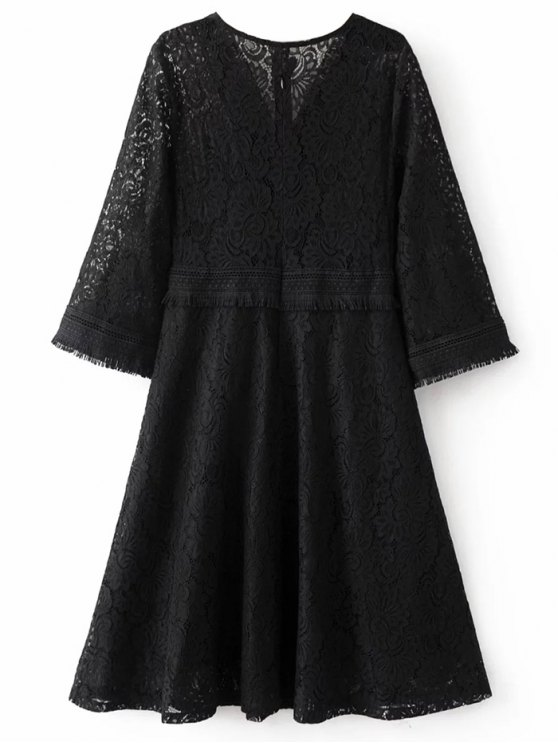 Fringed Wrap Lace Swing Dress - BLACK L Mobile