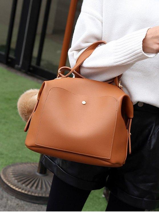 Slouchy Handbag with Pom Pom Detail - BROWN  Mobile