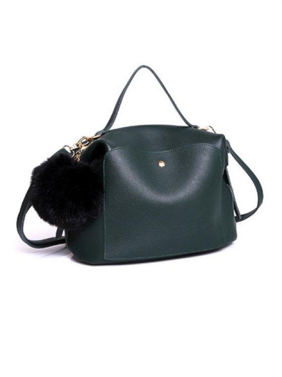 Slouchy Handbag with Pom Pom Detail - GREEN  Mobile