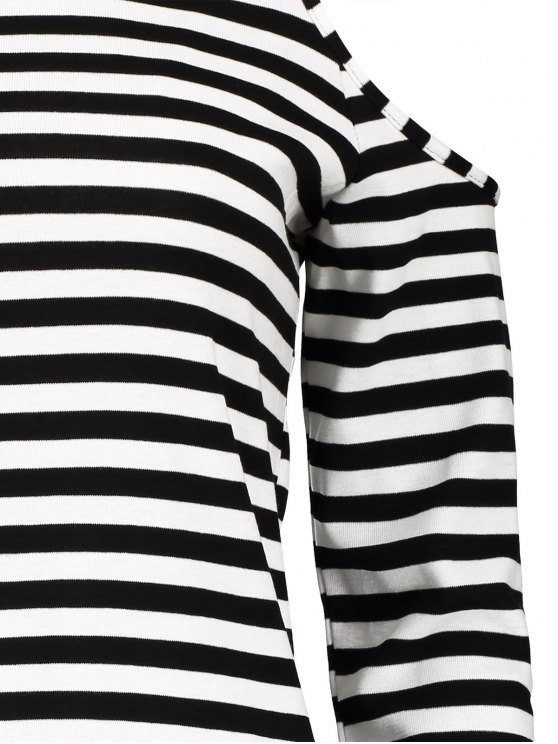 Striped Cold Shoulder T-Shirt - WHITE AND BLACK L Mobile