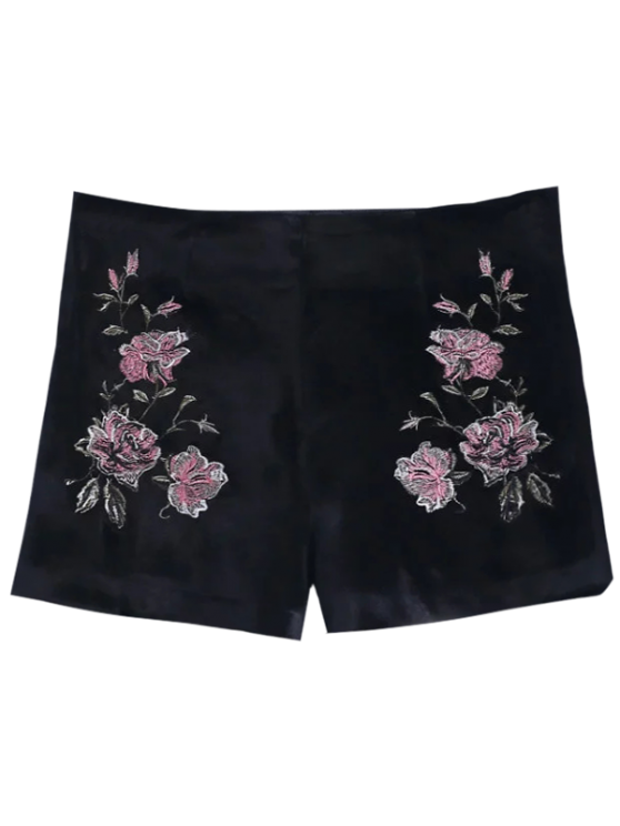 Short en velours brodé à fleur - Noir M