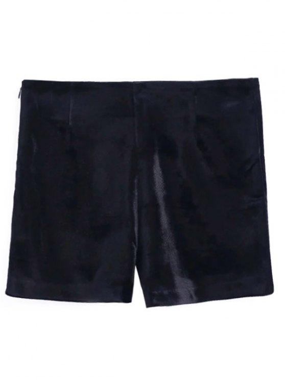 Floral Embroidered Velvet Shorts - BLACK L Mobile