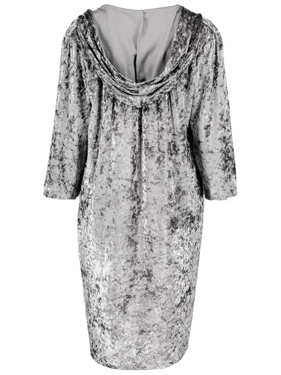 Hooded Shiny Velvet Dress - GRAY L Mobile