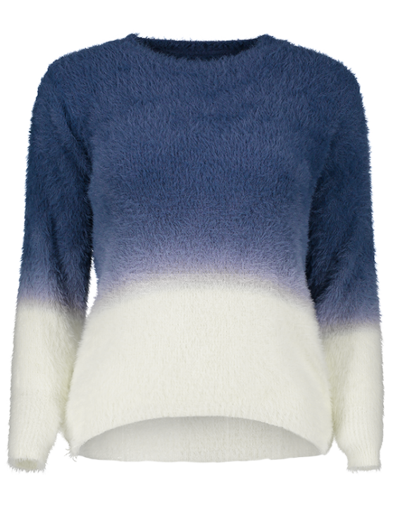 Ombre High-Low Sweater - DEEP BLUE ONE SIZE Mobile