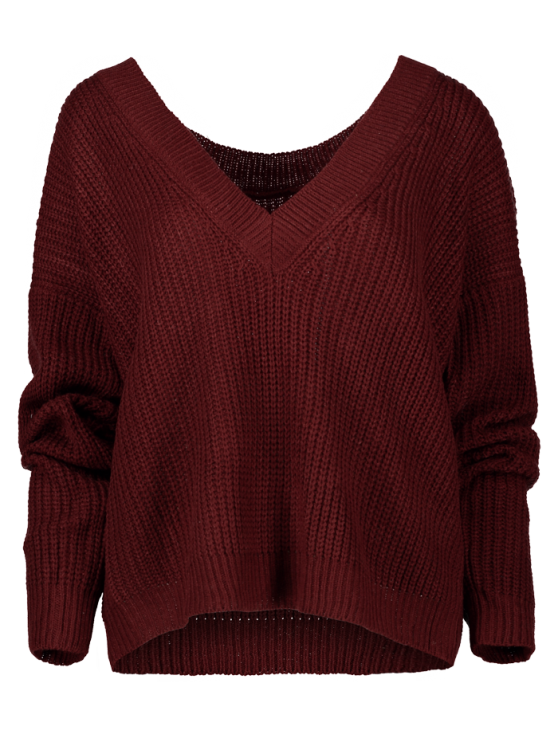 V Back Chunky Sweater - WINE RED ONE SIZE Mobile