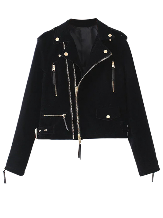 hot Lapel Velvet Biker Jacket - CADETBLUE S