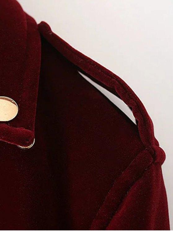 Lapel Velvet Biker Jacket - BURGUNDY M Mobile