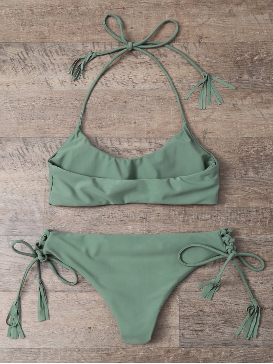 Tasselled Halter Bikini Set - ARMY GREEN L Mobile