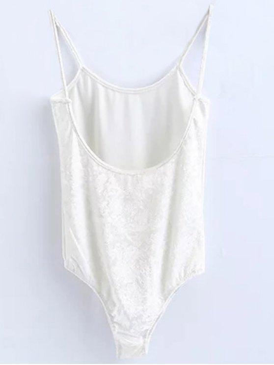 Skinny Velvet Bodysuit - WHITE S Mobile