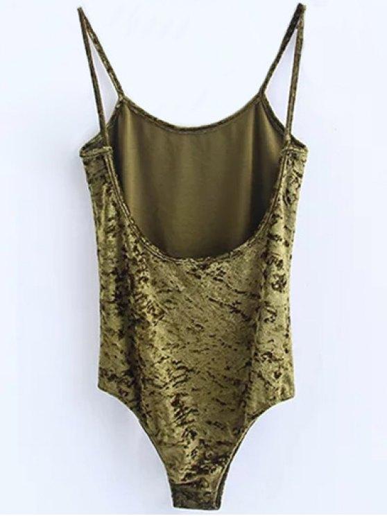 Skinny Velvet Bodysuit - GREEN S Mobile